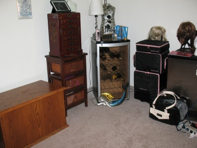 The furniture holds corsets, body shapers, jewelry, bras, panties, breastforms, makeup and skincare products.
