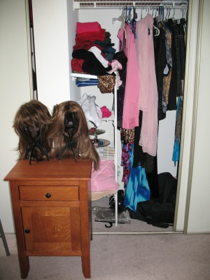 A peek into the closet shows a sampling of the clothes available for your total makeover.
