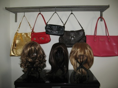 Check out the designer purses and wigs!