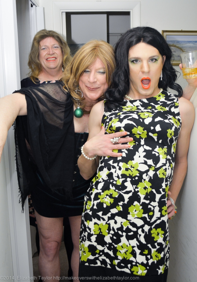 Celia, Jizzelle, and Abby laugh and giggle at my St. Patrick's Day party for trans-women and allies. We had 23 guests attend.