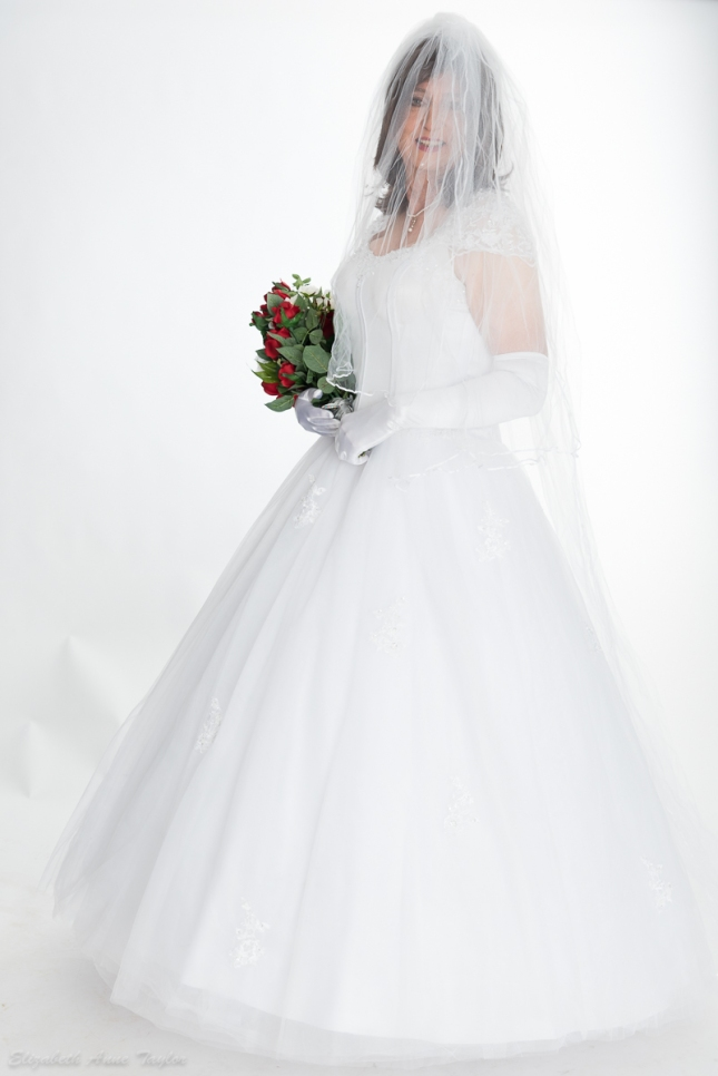 Wedding veil down