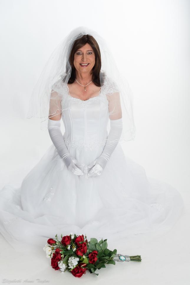 Crossdresser Bride and Bouquet