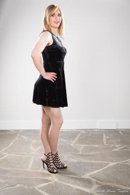 Connie wears black dress