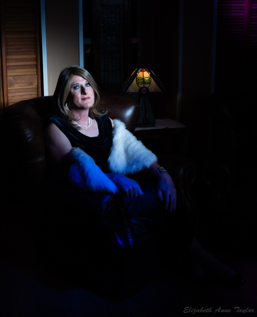 Allison wears longer, blond hair with a blue, velvet dress with a white faux fur wrap. She is seated on a brown leather chair with a lamp in the background. The image is dark and noir-like though it is in color.