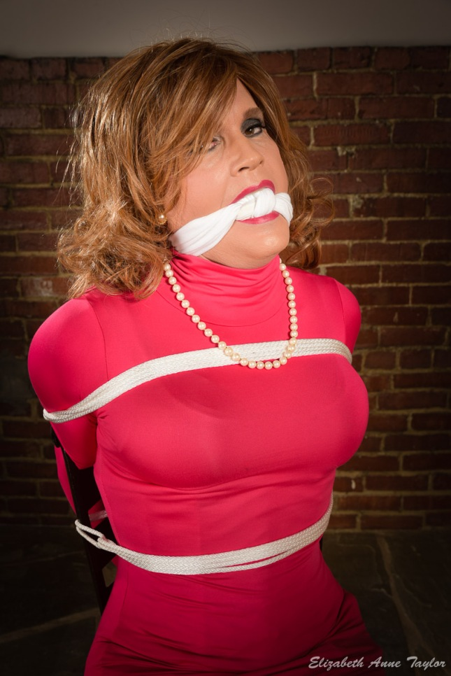 Cari is gagged with white cloth and bound with white rope. She wears a pink dress with a pearl necklace. She is seated on a barstool with a brick wall behind her.