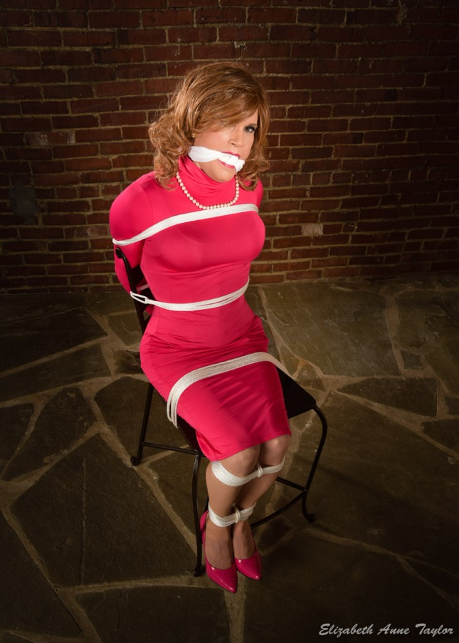 Full-length image of Cari bound with white rope in 5 places. She is gagged with a white cloth. She is sitting on a barstool on a stone floor with a a brick wall behind her.